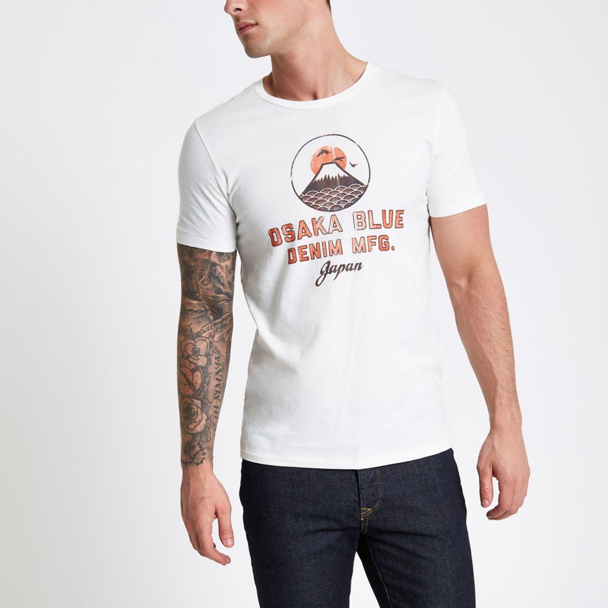 Jack & Jones white 'Osaka' print T-shirt