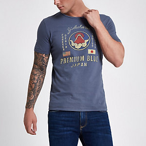 Jack & Jones Premium – Blaues T-Shirt mit Print