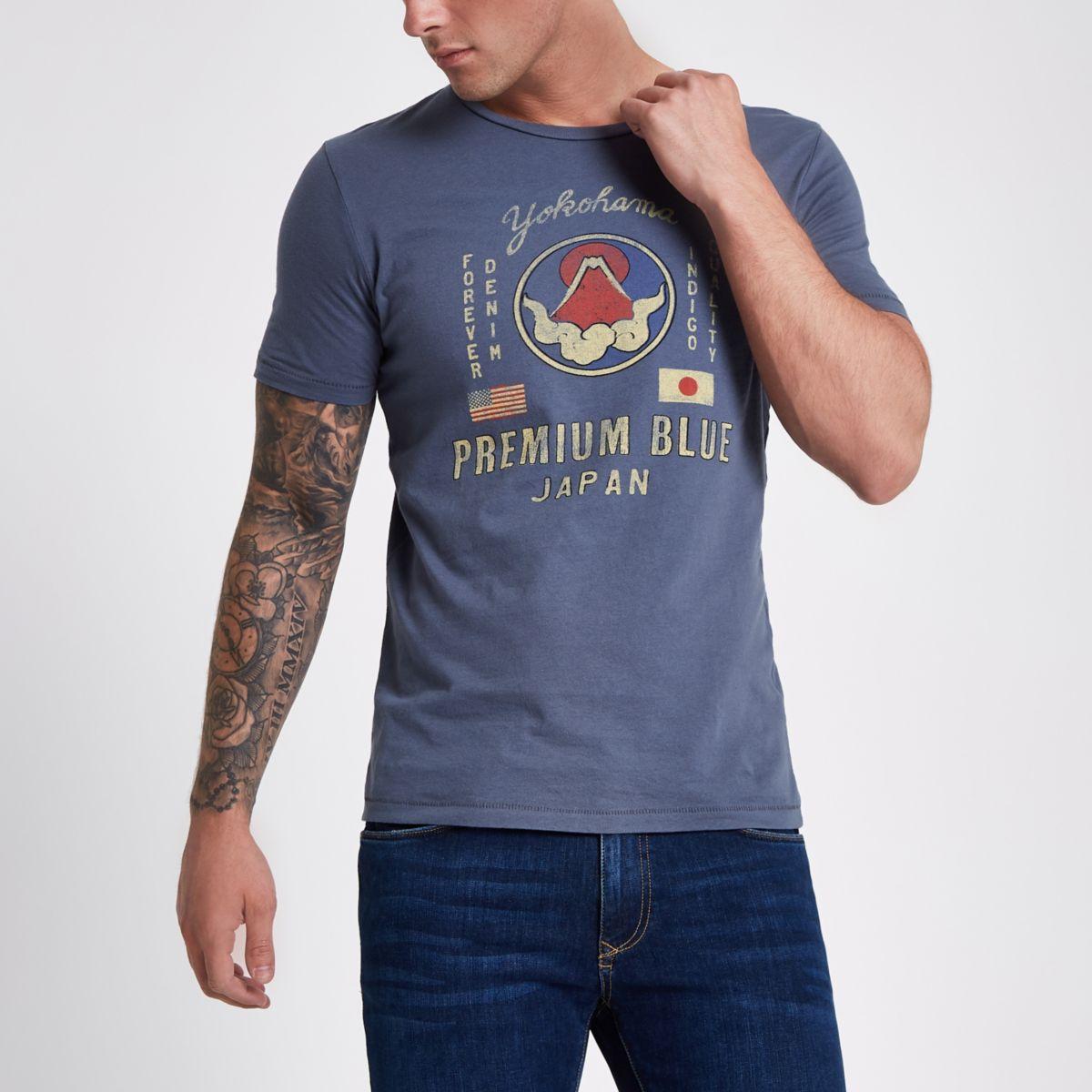 Jack & Jones Premium blue print T-shirt