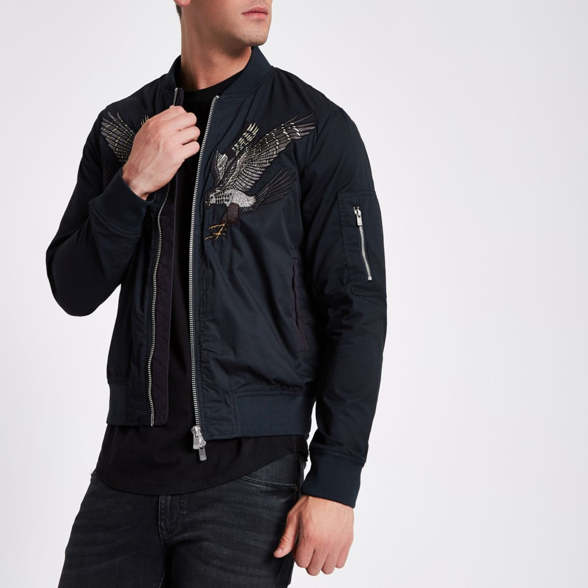 Navy Jack & Jones bomber jacket