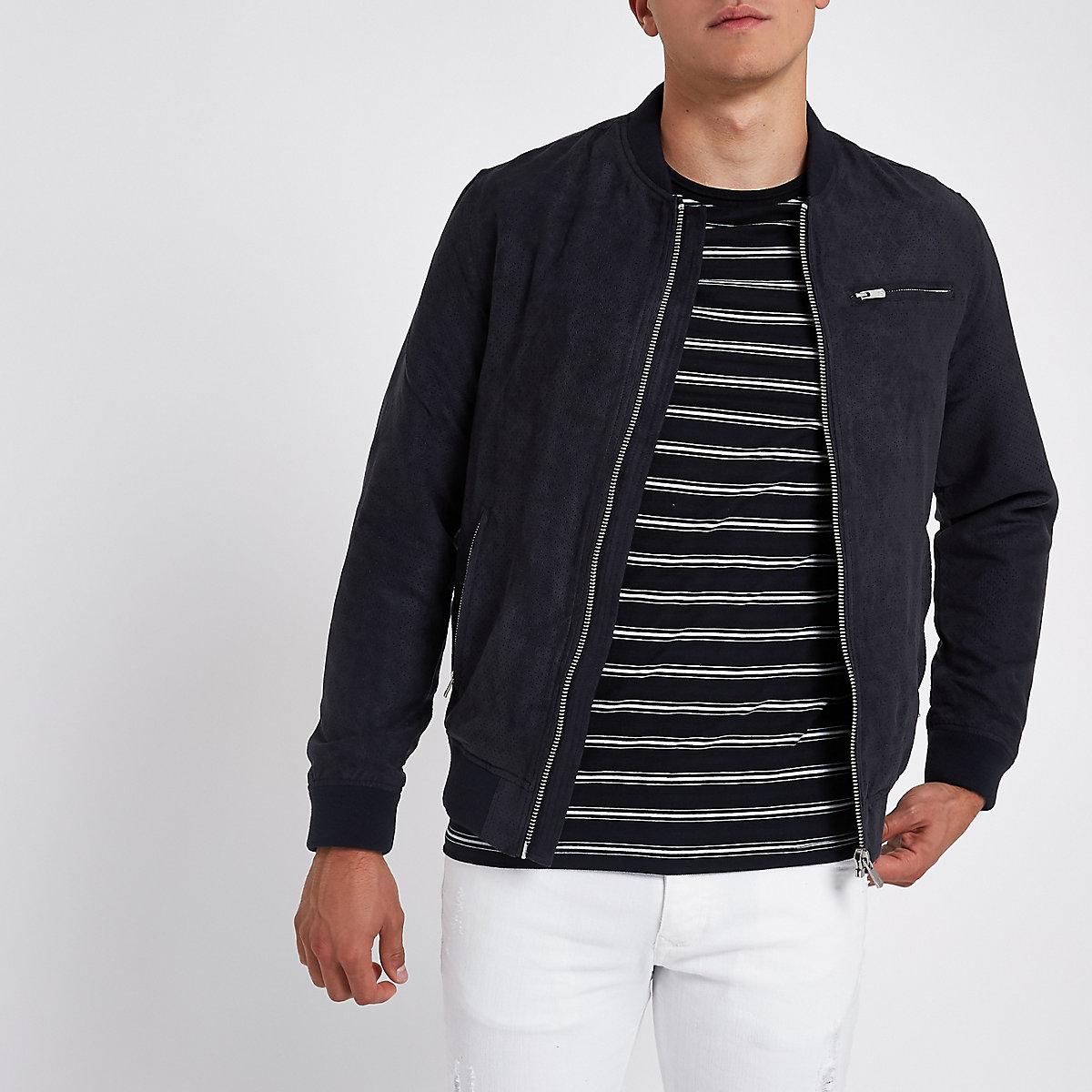 Jack & Jones navy bomber jacket