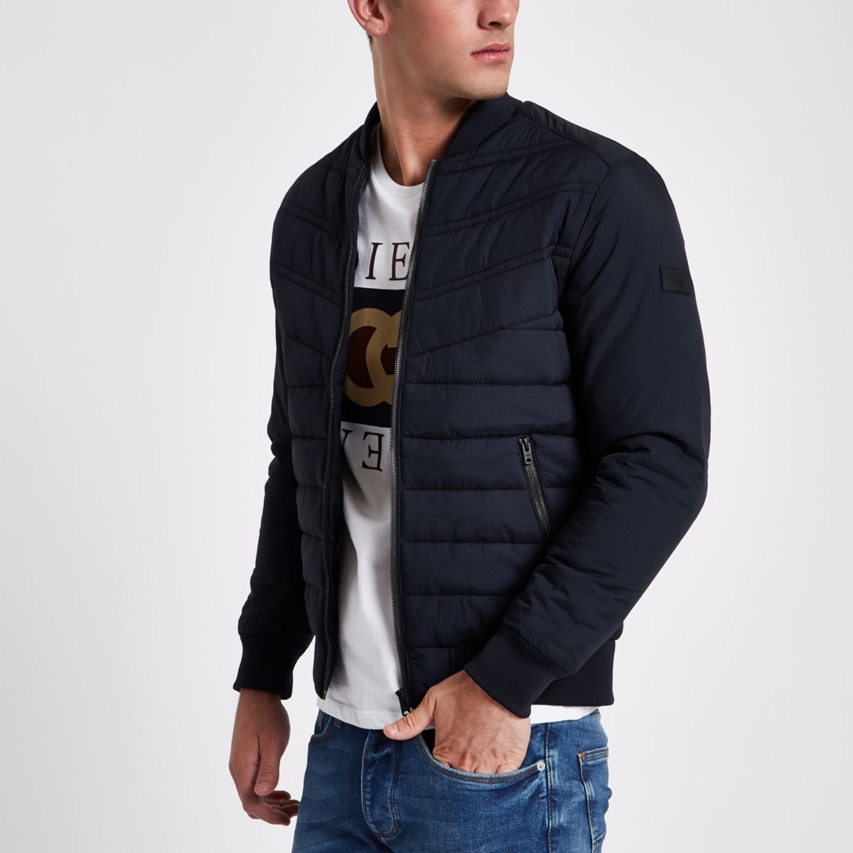 Jack & Jones Core navy padded bomber jacket