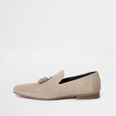 Stone Suede Tassel Loafers by River Island