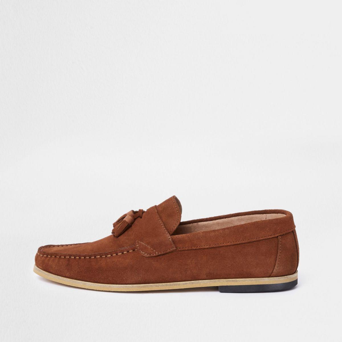Dark orange suede tassel loafers