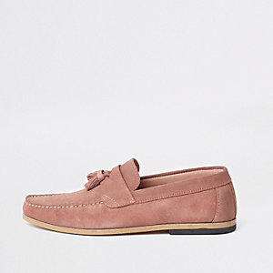 Pink suede tassel loafers