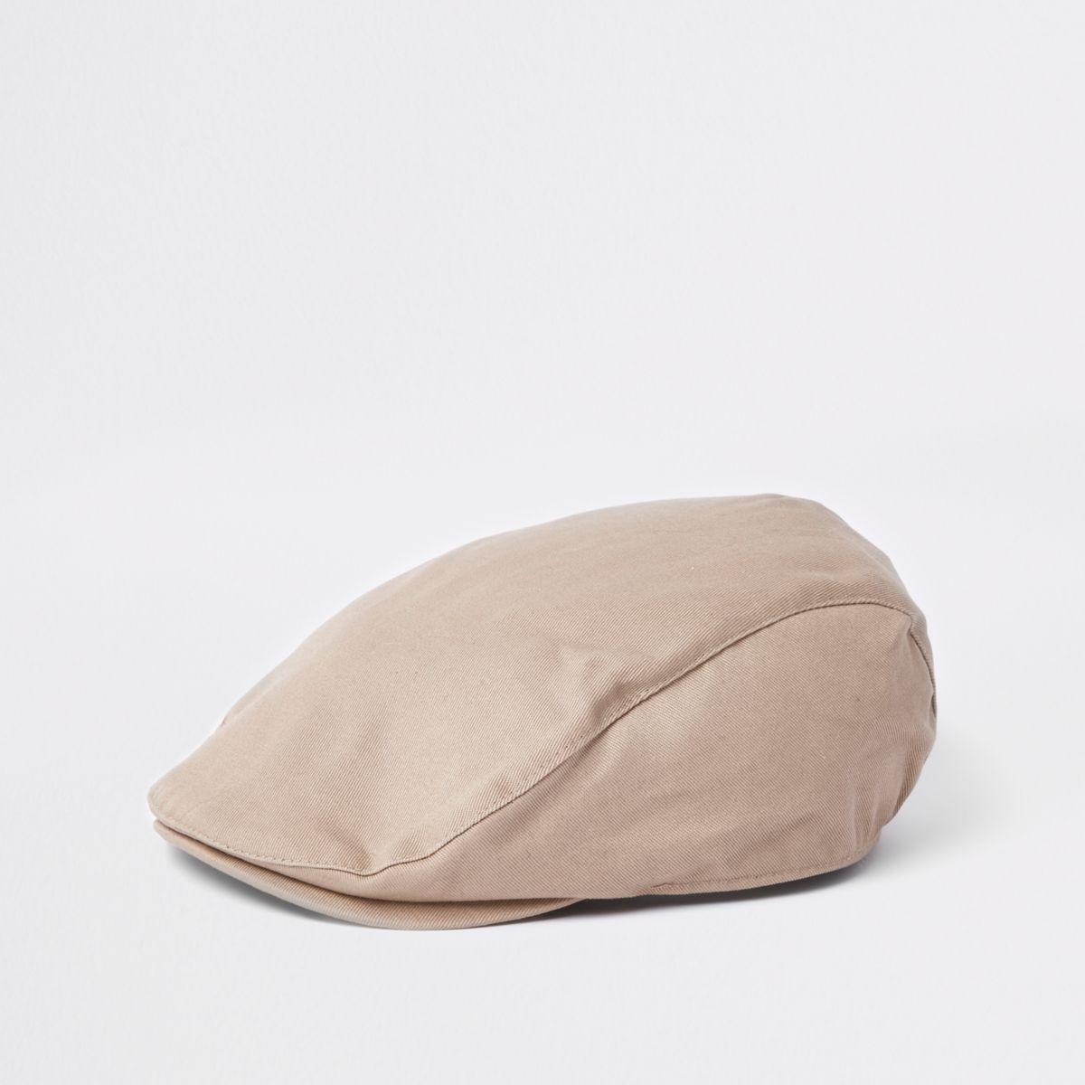 Beige twill flat cap