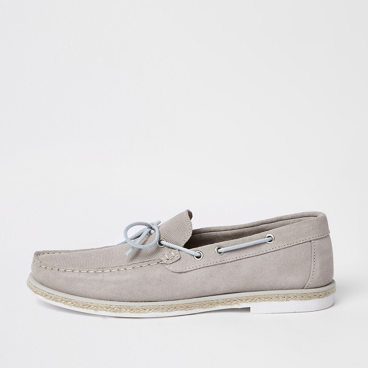 Grey suede boat shoes