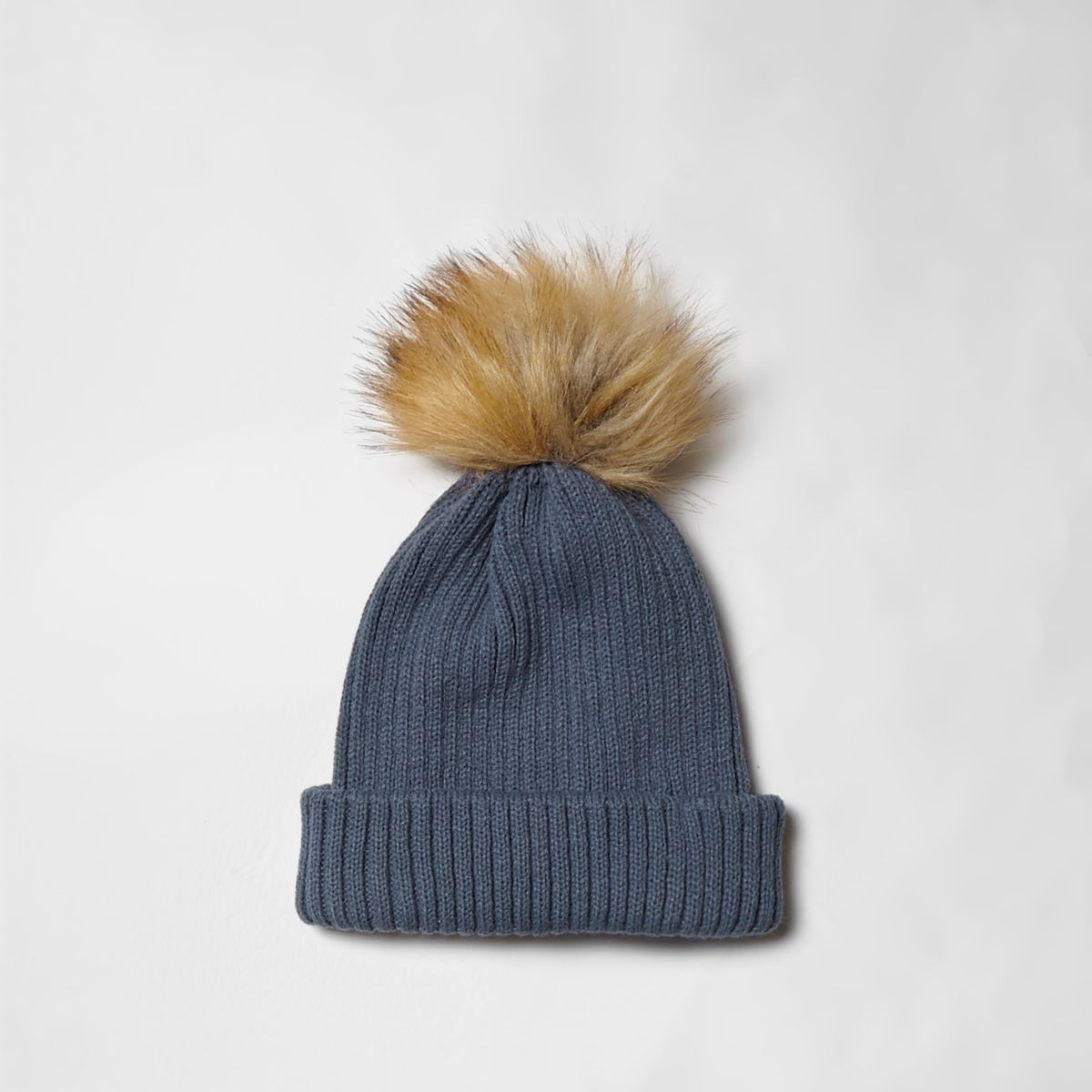 Blue rib knit pom pom bobble beanie hat