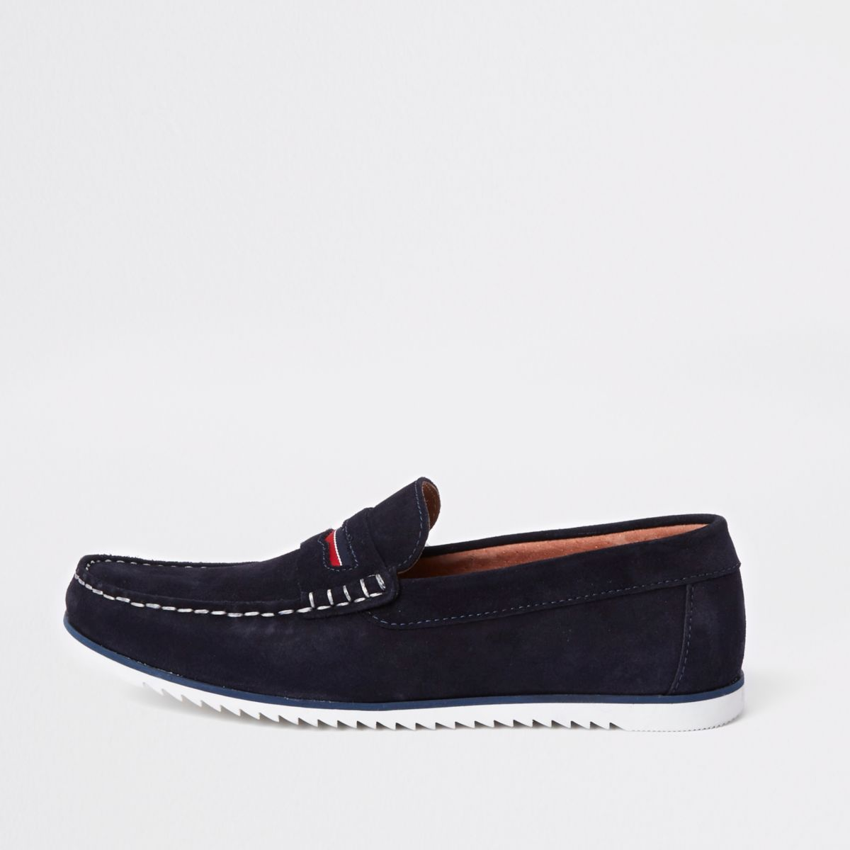 Navy suede slip on loafers