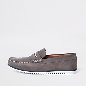 Grey suede slip on loafers