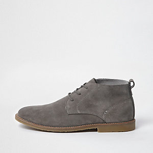 Light grey suede desert boots