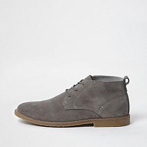 Light grey suede desert boots