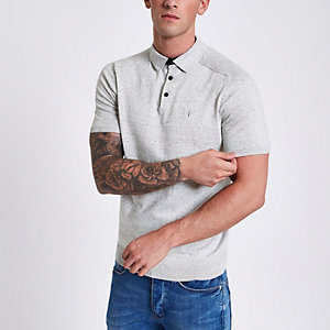 Grey wasp embroidered slim fit polo shirt
