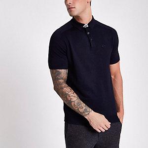 Marineblaues, kurzärmliges Slim Fit Polohemd