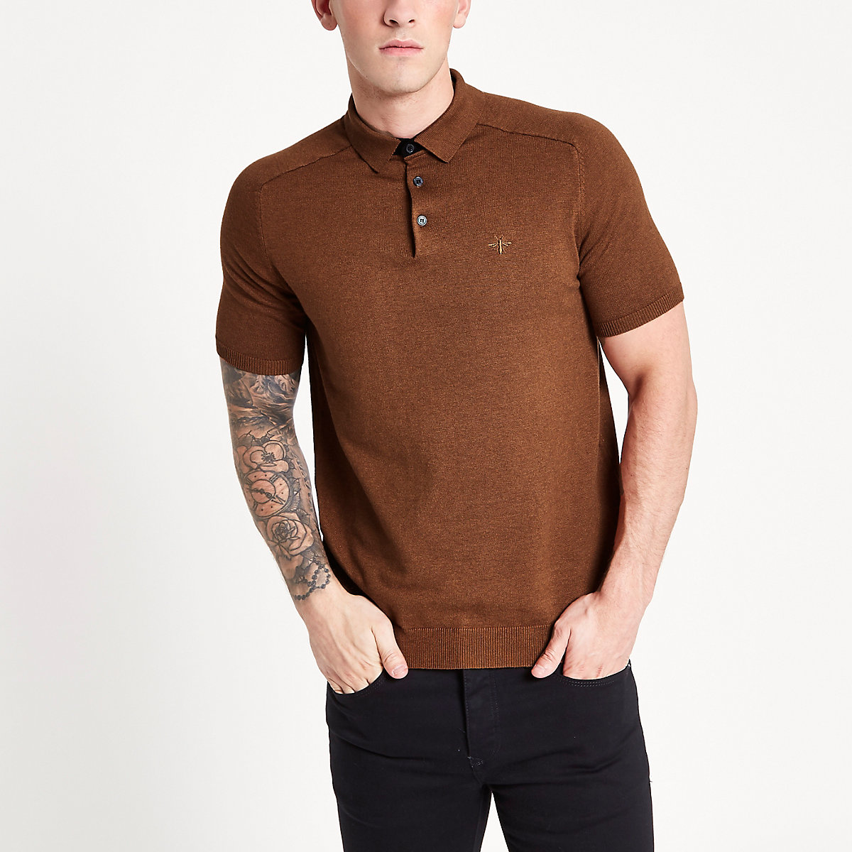 Brown slim fit knitted polo shirt