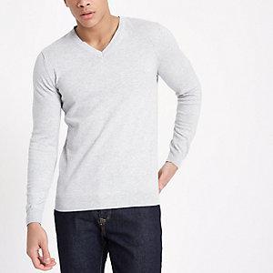 Grauer Slim Fit Pullover mit V-Ausschnitt