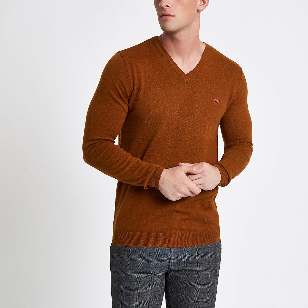 Light brown slim fit V neck jumper