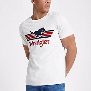 White Wrangler logo print T-shirt
