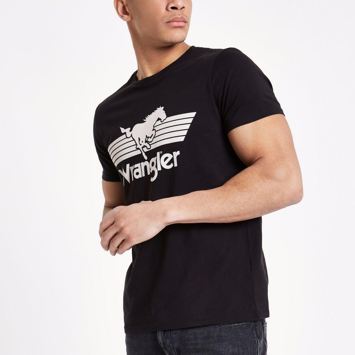 Wrangler – Schwarzes T-Shirt mit Logoprint