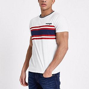 Wrangler - Wit T-shirt met strepenprint