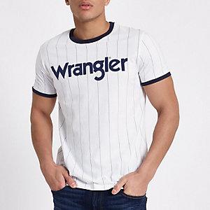 Wrangler - Wit gestreept T-shirt met contrasterende biezen