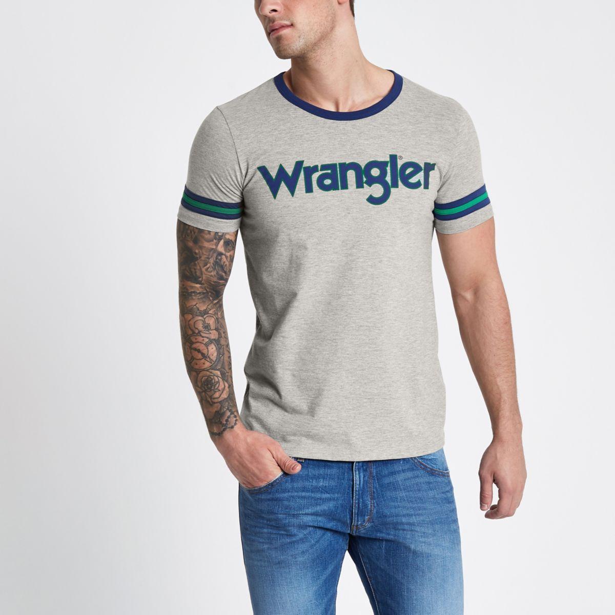 Grey Wrangler logo print T-shirt