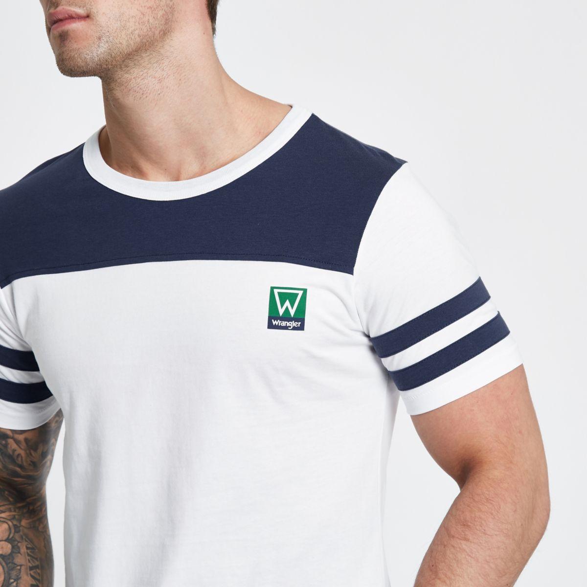Blue Wrangler stripe sleeve T-shirt