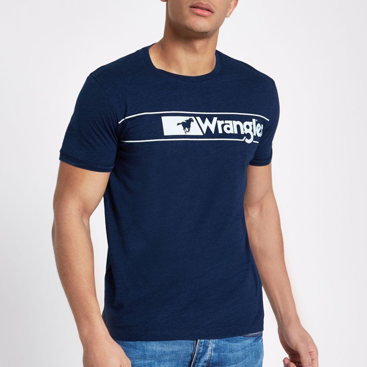 Navy Wrangler logo print T-shirt