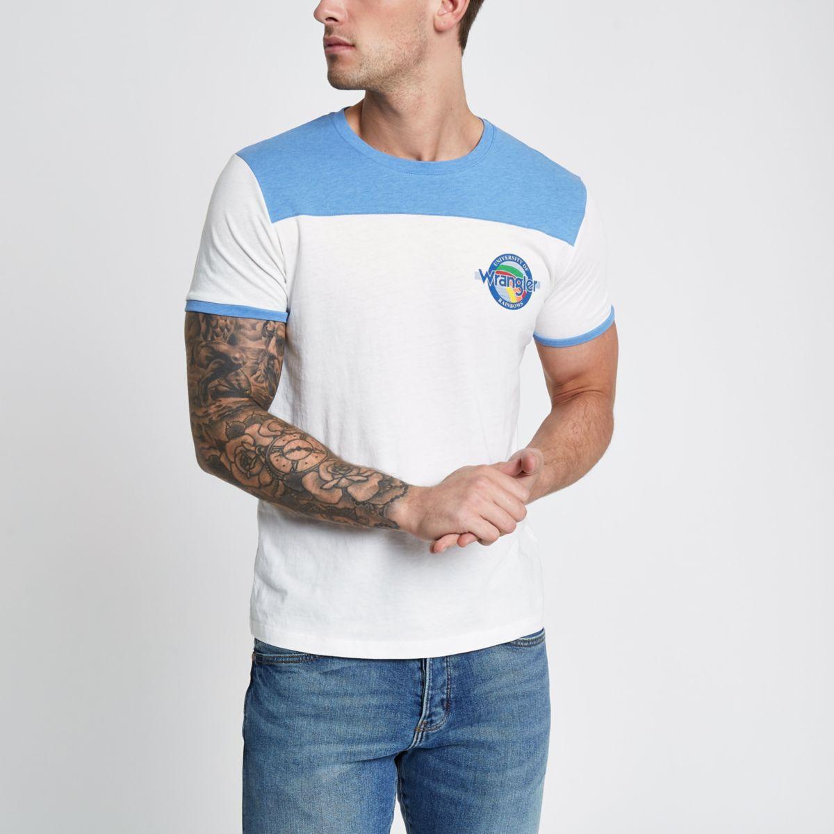 Wrangler – T-shirt bleu contrasté à manches courtes