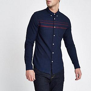 Wrangler – Chemise manches longues bleu marine boutonnée avec poche