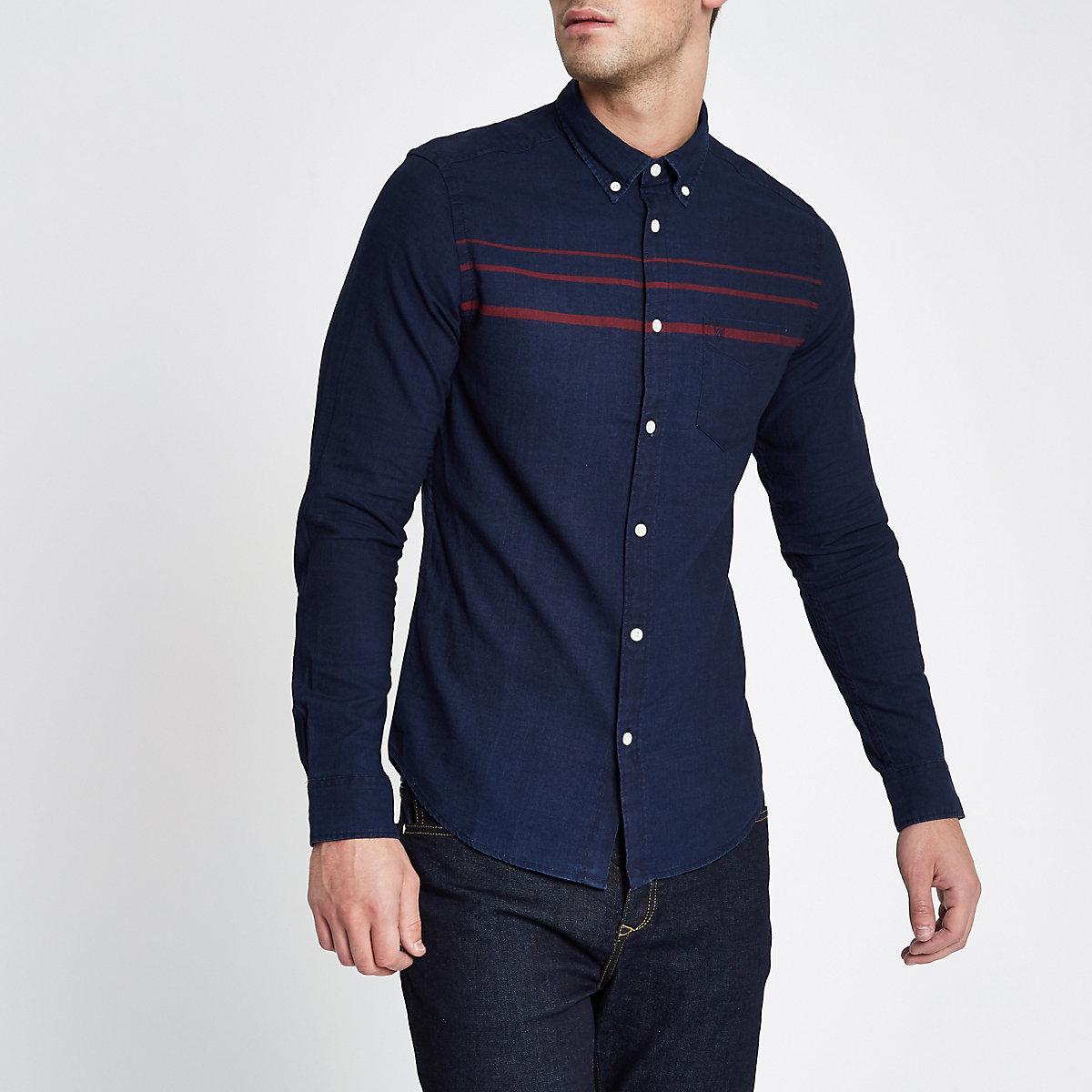 Wrangler navy stripe long sleeve pocket shirt