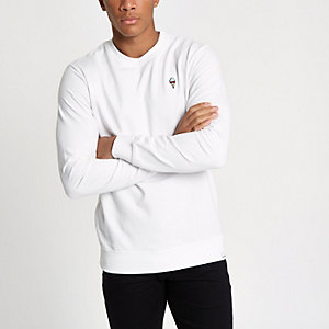 Only & Sons – Weißes Sweatshirt mit Stickerei