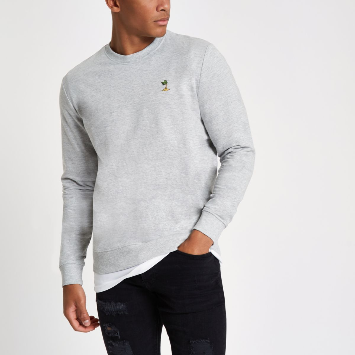 River Island Mens Only and Sons White embroidered sweatshirt Only & Sons