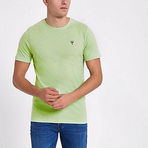Only & Sons – Grünes T-Shirt mit Stickerei