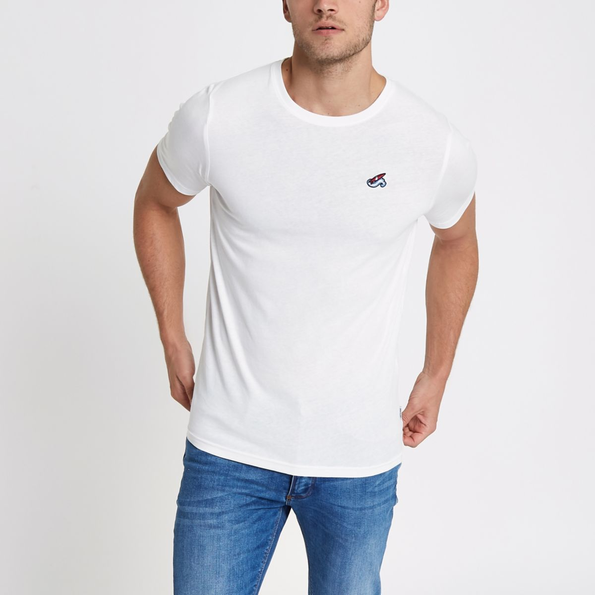 Only & Sons white embroidered fitted T-shirt