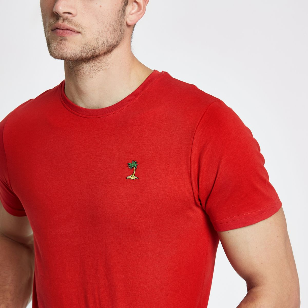 Only & Sons orange palm embroidered T-shirt