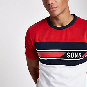Only & Sons T-shirt met roodgeblokte print