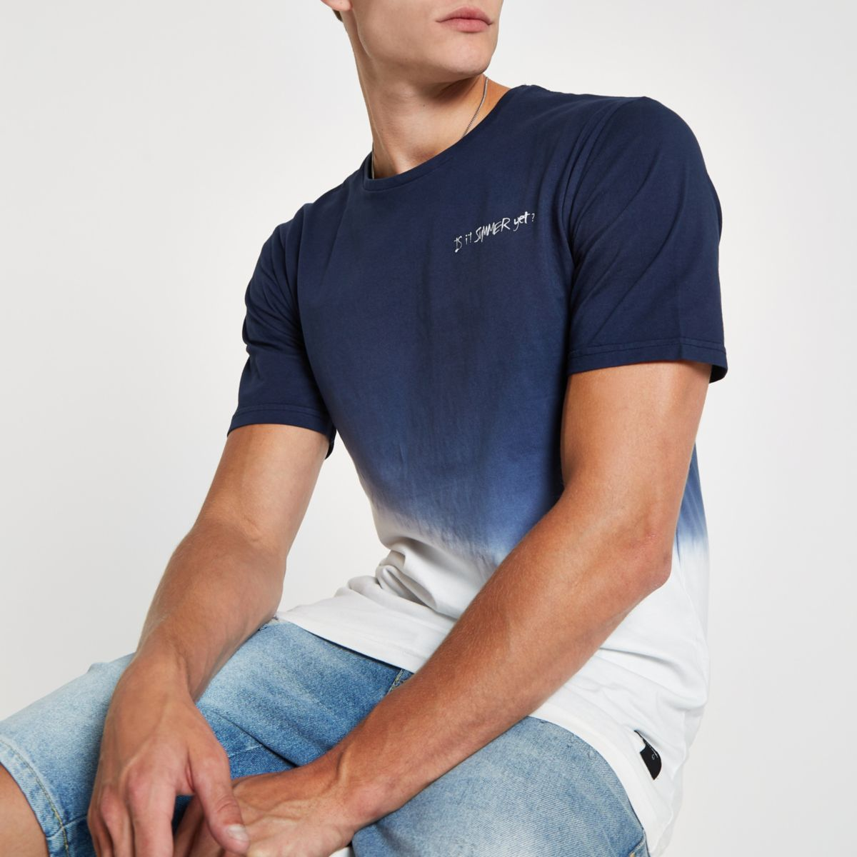 Only & Sons navy dip dye print T-shirt