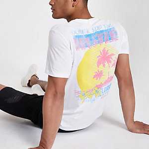 Only & Sons white 'hustle' print T-shirt