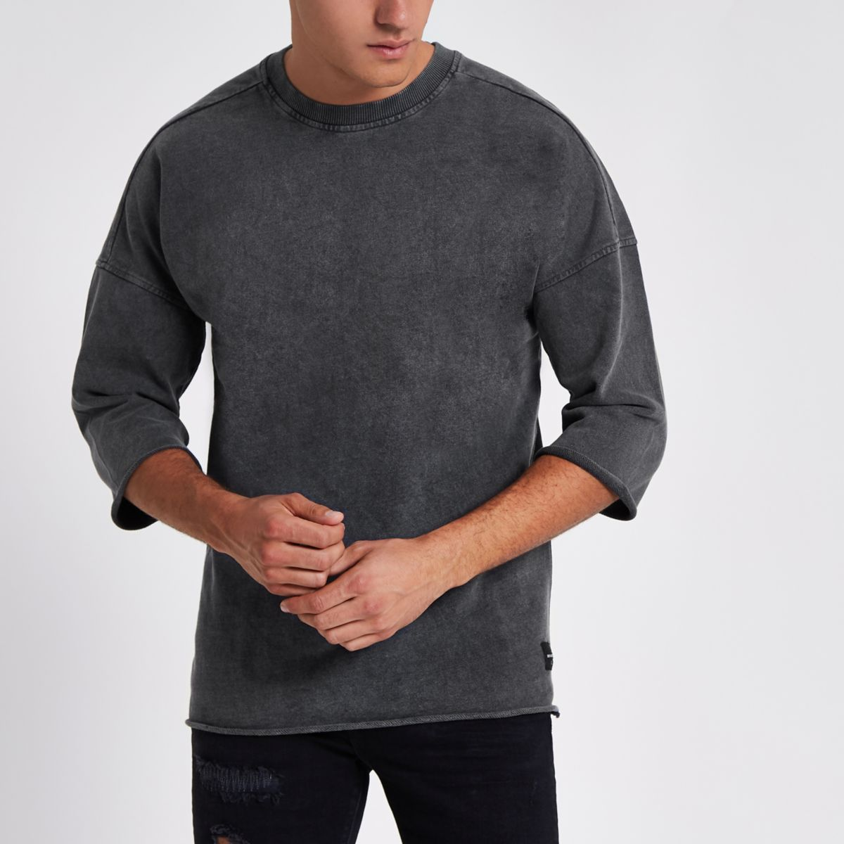 Only & Sons black drop shoulder T-shirt