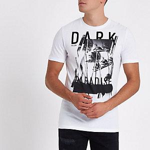 Only & Sons - Wit T-shirt met 'dark'-print en korte mouwen