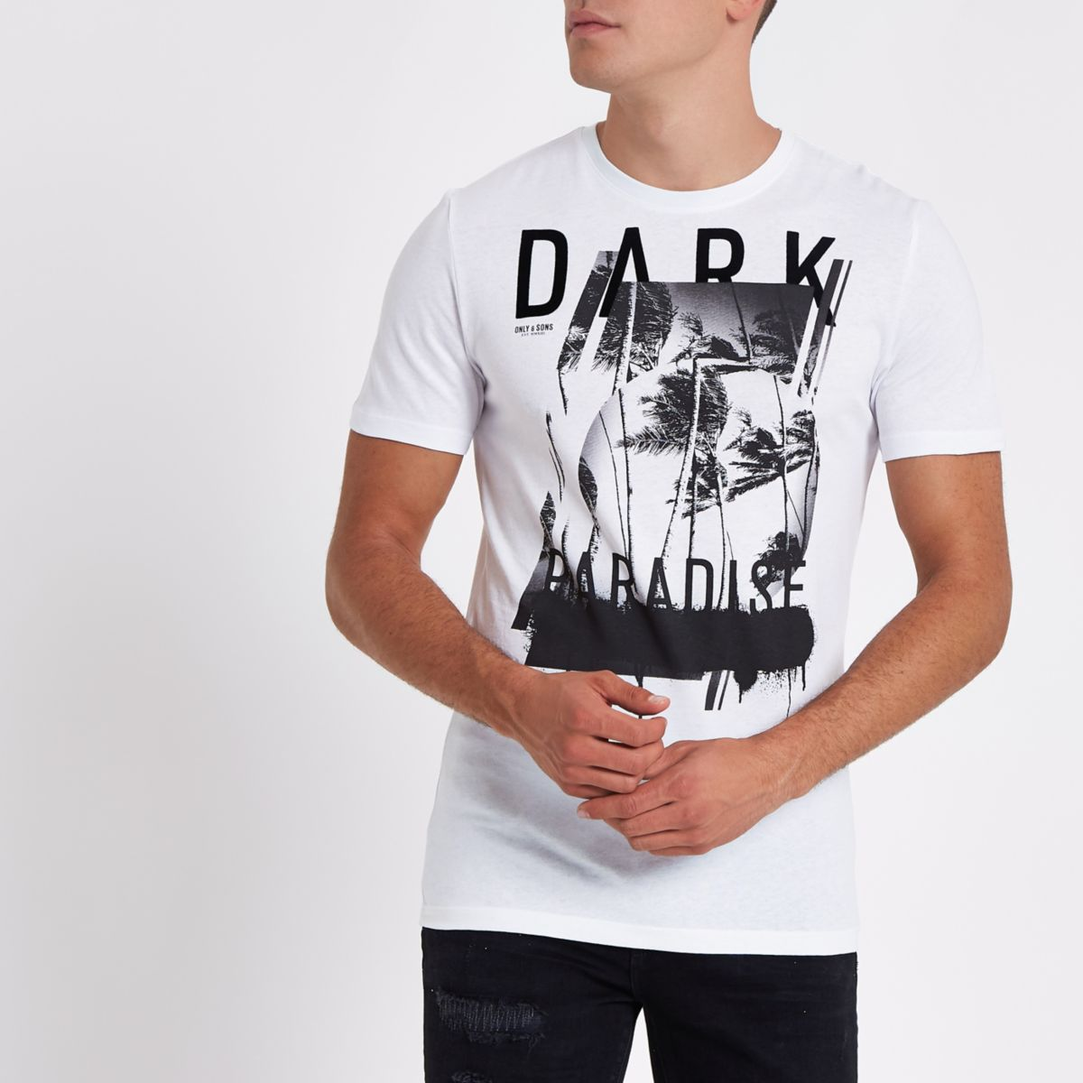 Only & Sons white 'dark' short sleeve T-shirt
