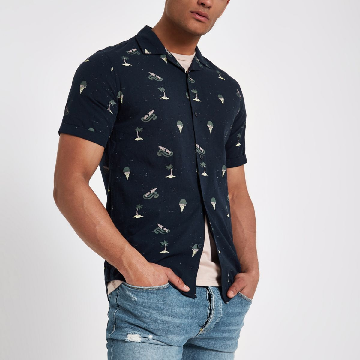 Only & Sons navy slim fit short sleeve shirt