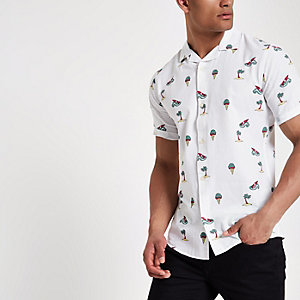 White Only & Sons slim fit short sleeve shirt