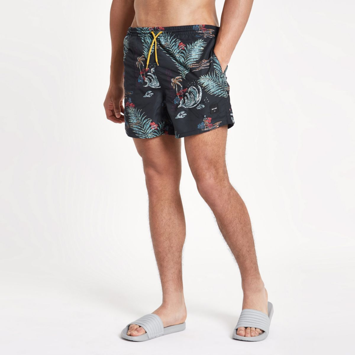 Only & Sons navy floral swim trunks