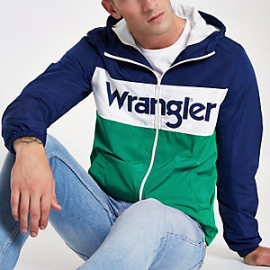 Navy Wrangler block print pull over jacket