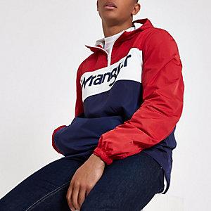 Red Wrangler block print pull over jacket