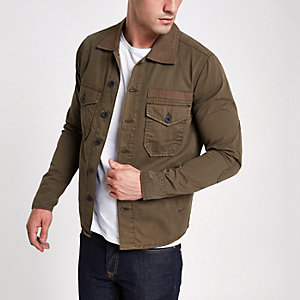 Wrangler khaki button-up overshirt