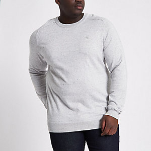 Big and Tall light grey knit crew neck jumper