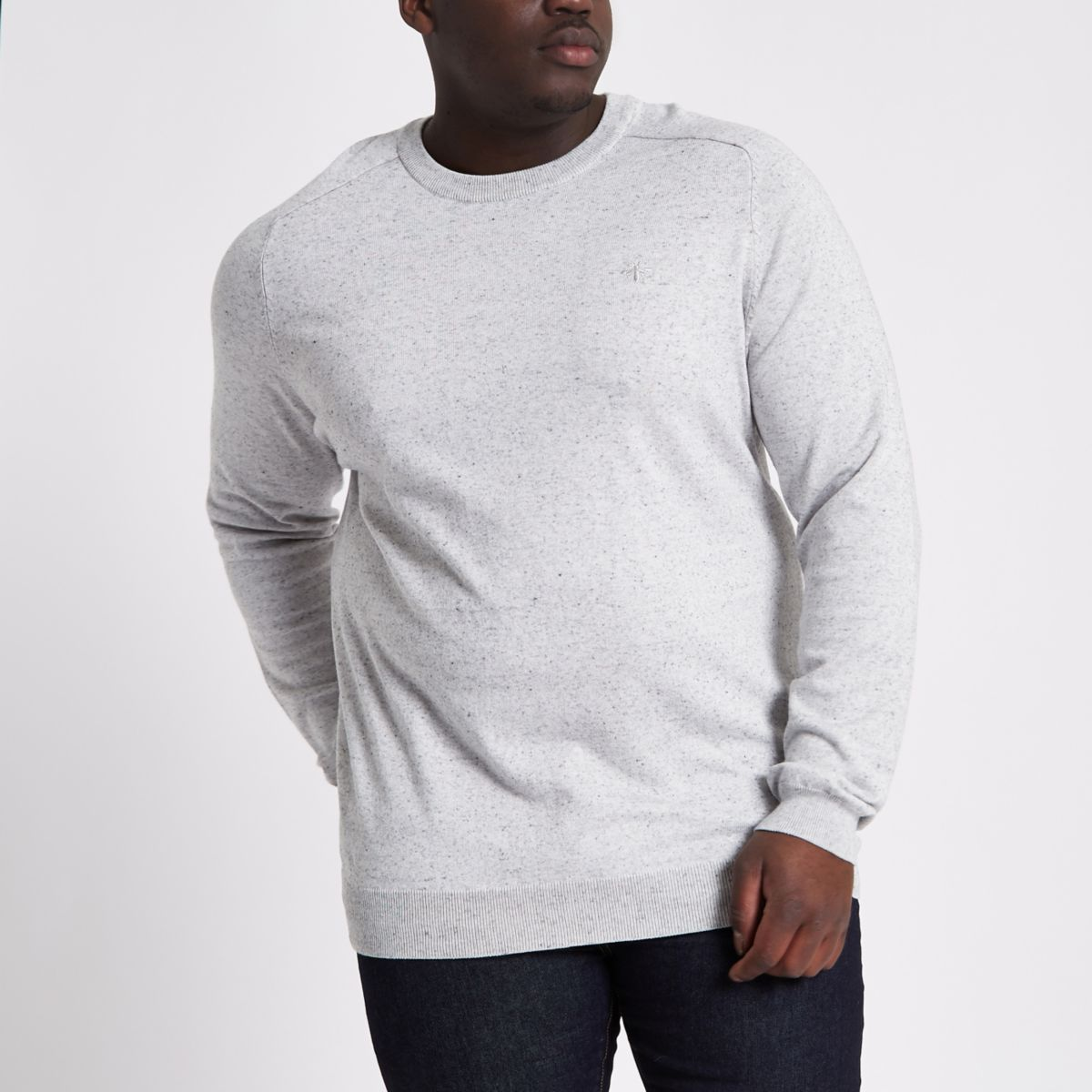 Big and Tall – Pull ras du cou en maille gris clair